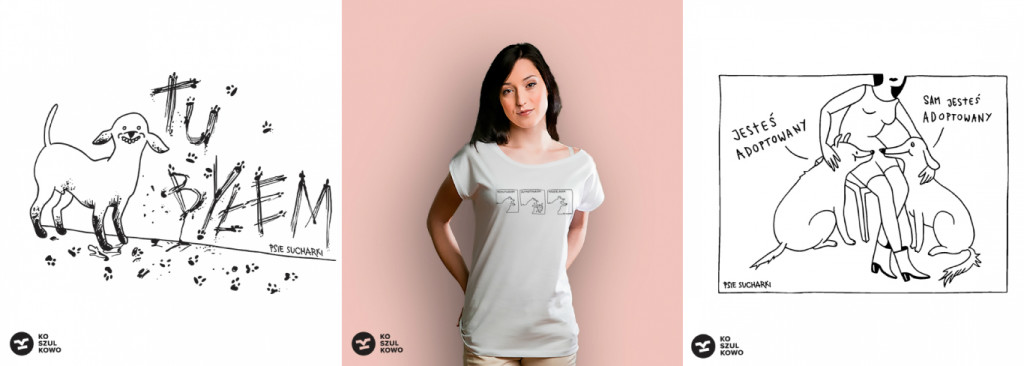 Koszulki z grafikami Psich Sucharków.