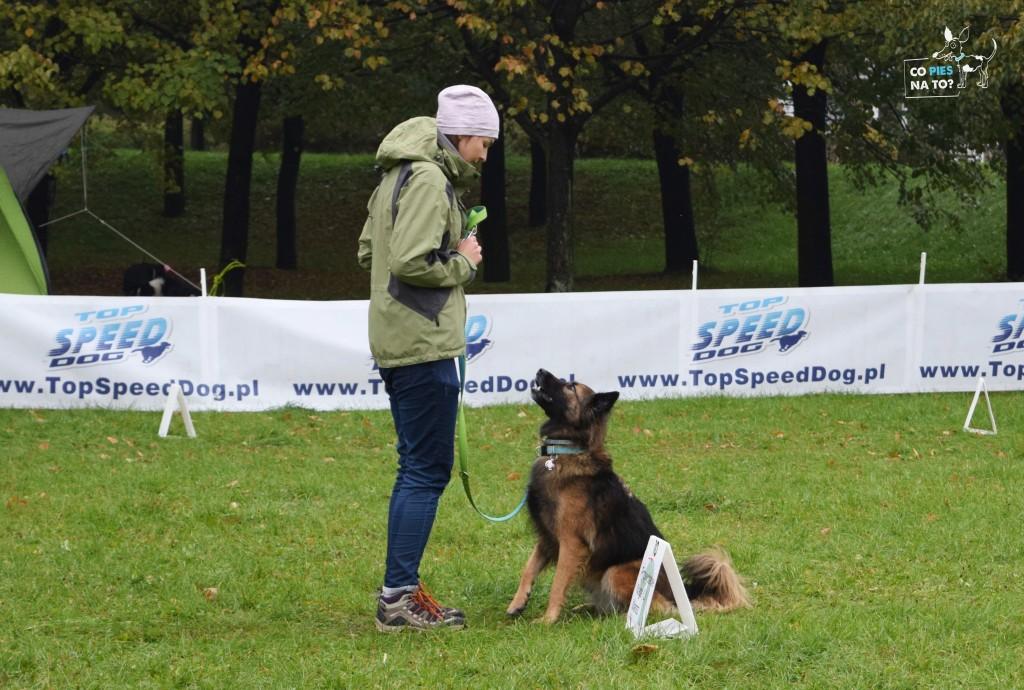 Magda i Vesper podczas zawodów. To był jedyny moment kiedy nie lało :)